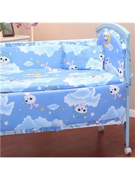Blue Rabbit Playing on The Clouds Print Baby Crib Bedding Sets