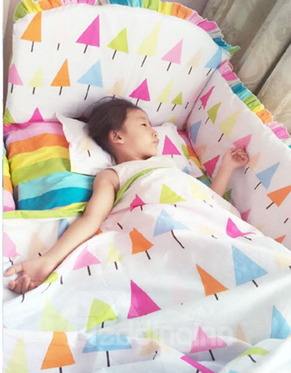 Rainbow Color Stripes and Trees Pattern 10-Piece Crib Bedding Sets