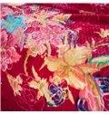 Graceful Floral Printing Red Cozy Raschel Blanket