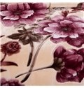 Dark Red Flowers Printing Plush Raschel Blanket