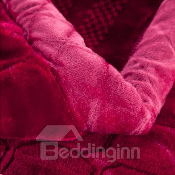 Solid-Colored Style Full Size Rosy Raschel Blanket