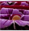 Top Class Purple Flowers Printing Thick Raschel Blanket