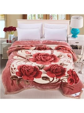 Beautiful Blooming Flowers Printing Soft Raschel Blanket