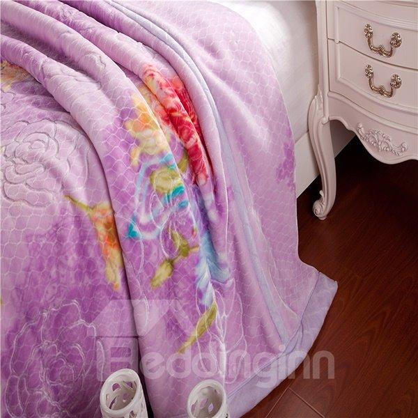 Pretty Floral Design Noble Purple Raschel Blanket