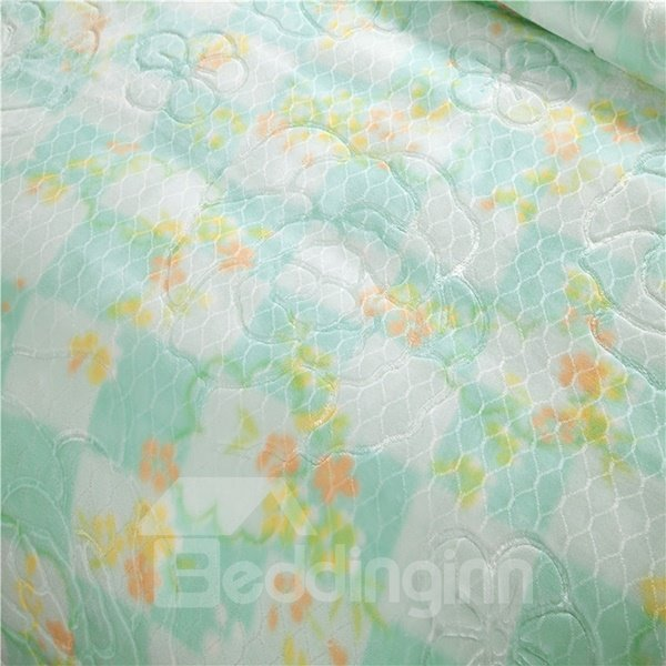 Graceful Small Flowers Printing Green Full Size Raschel Blanket