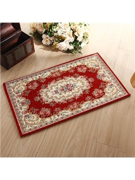 High Class Retro Court Style Dark Red Bath Rug