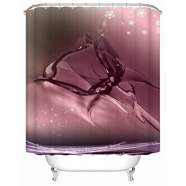 Innovative Design Flower-shaped Water Pattern Red Wine Color 3D Shower Curtain