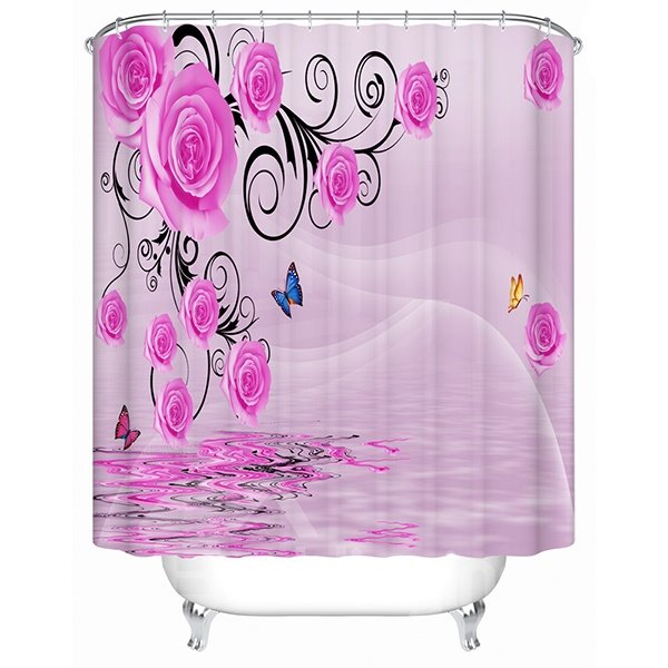 Fashion Glamerous Pink Flowers and Butterfly 3D Shower Curtain