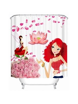 Unique Design Fashion Girl and Graceful Gril 3D Shower Curtain