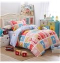 Colorful Plaid Pattern and Giraffe Print Kids Cotton 3-Piece Duvet Cover Sets