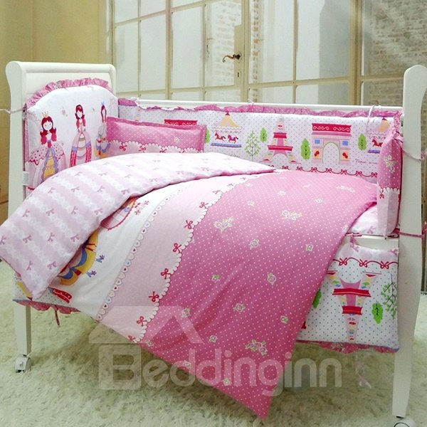 Lovely Princess And Castle Pattern Baby Girls Crib Bedding