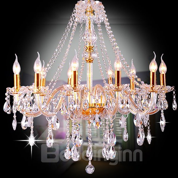 Stunning Luxury Golden 10-Head Crystal Chandelier