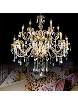Fabulous Luxurious 2-Tier 18-Head Crystal Chandelier