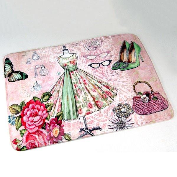 Fantastic Coral Fleece Dress Shoes and Handbag Pattern Doormat Bedroom Closet