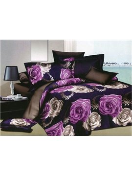 Charming Purple and White Roses Print Polyester 4-Piece Duvet Cover Sets