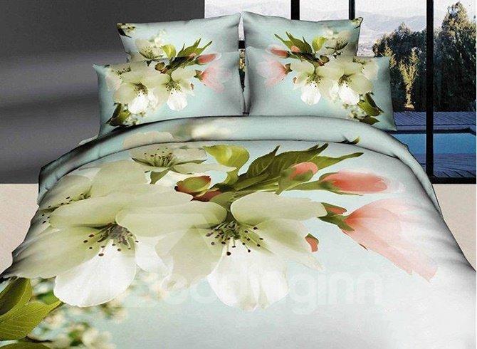 Snow-white Pear Blossom Print Cotton 4-Piece Duvet Cover Sets 11582575