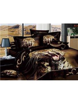Howling Leopard Print Brown Cotton 4-Piece Duvet Cover Sets