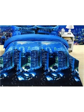 Charming City Night Scenery Printing Blue 4-Piece Polyester Duvet Cover Sets
