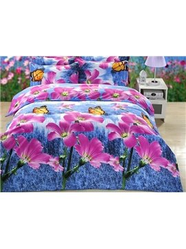 Butterflies Flying on Rosy Flowers Printing Polyester 4-Piece Duvet Cover Sets