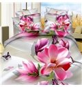 Mellow Pink Magnolia Butterflies Printing Polyester 4-Piece Duvet Cover Sets
