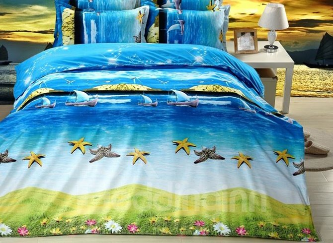 Beach Scenery Cute Starfish Printing 4-Piece Duvet Cover Sets