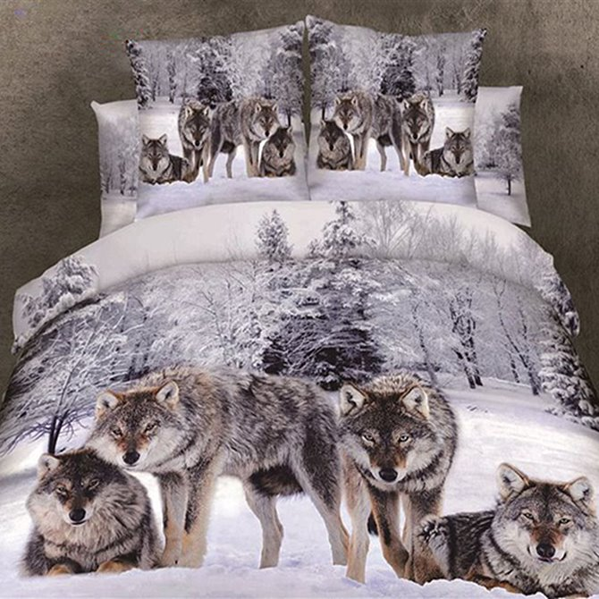 Powerful Snow Wolf in the Woods Print 3D Duvet Cover