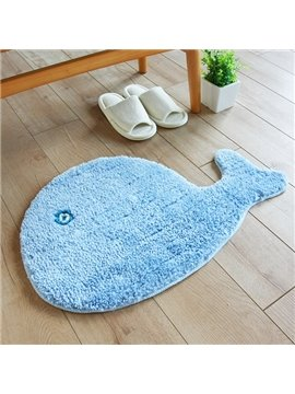 Cute Creative Blue Whale Design Water-Absorbing Anti-Slipping Doormat