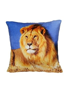 Overlooking Lion Digital Print Plush Throw Pillow