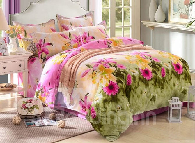 Pastoral pink and yellow flowers print 100 cotton 4 piece - Pink and yellow comforter ...