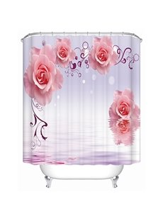 Fashion New Style Graceful Pink Rose Pattern 3D Shower Curtain
