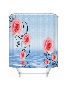 Fashion Modern Pink Rose Pattern 3D Shower Curtain