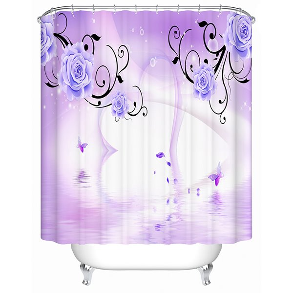 Charming Glamerous Purple Roses and Butterfly 3D Shower Curtain