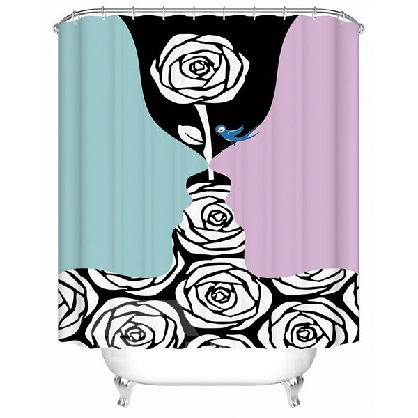 Aesthetic Desgin Roses and Faces Outline 3D Shower Curtain