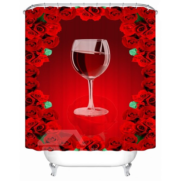 Charming Fabulous Rose Sea and Red-wine Print 3D Shower Curtain