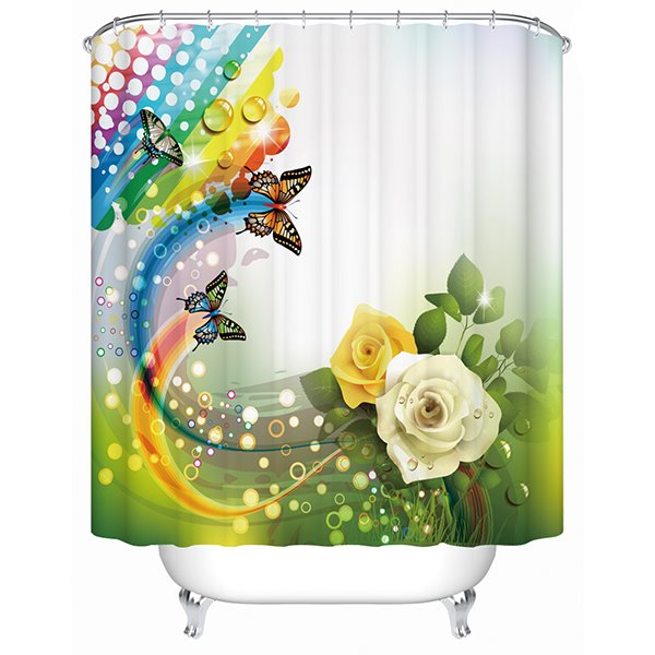 Charming Fantastic Unique Yellow and White Roses Butterfly 3D Shower Curtain