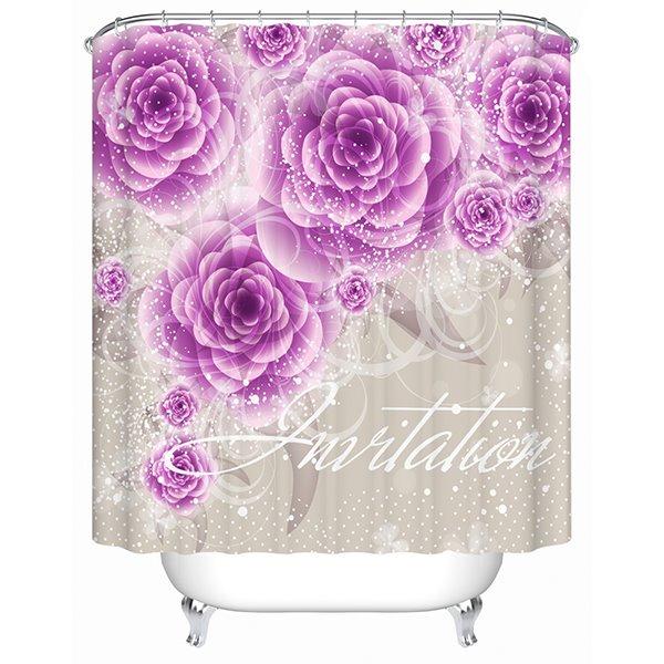 Charming Wonderful Purple Flowers 3D Shower Curtain