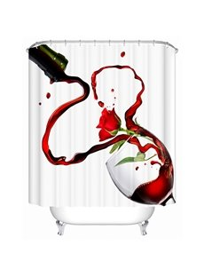 Creative Design Pouring Red-Wine and Rose Print 3D Shower Curtain