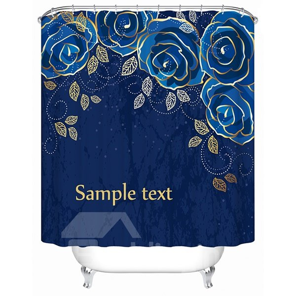 High Class Noble Flower Print Dark Blue 3D Shower Curtain