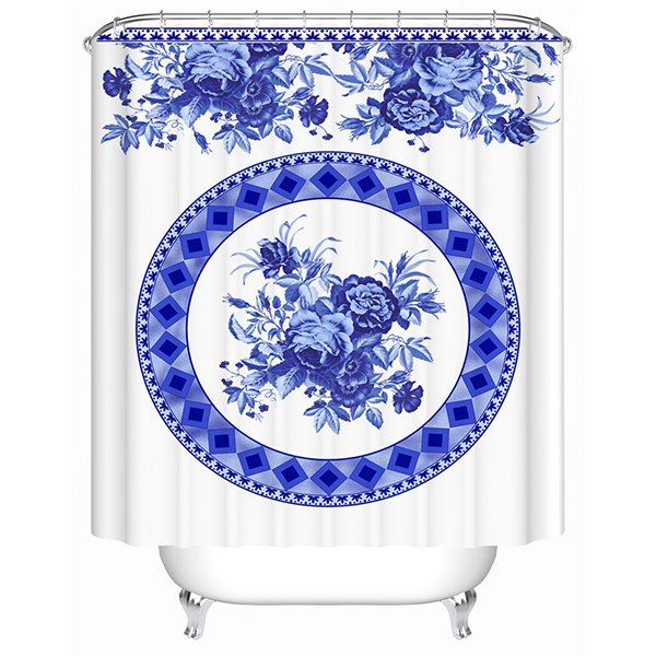 Chinoiserie Style Blue and White Porcelain Pattern 3D Shower Curtain