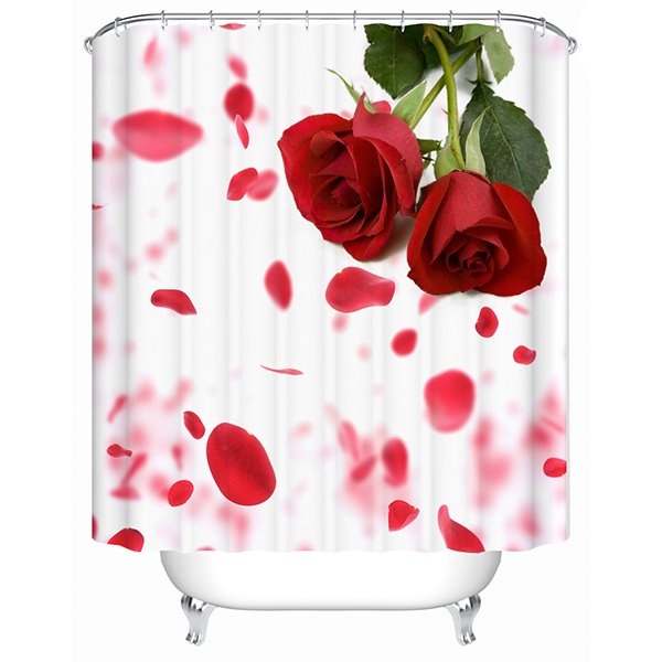 Charming Fancy Fresh Rose 3D Shower Curtain