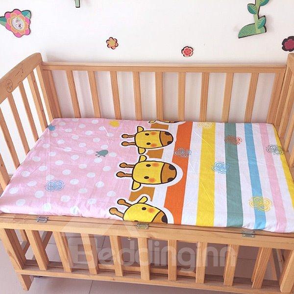 Three Giraffe Print and Stripes Pattern Baby Crib Fitted Sheet