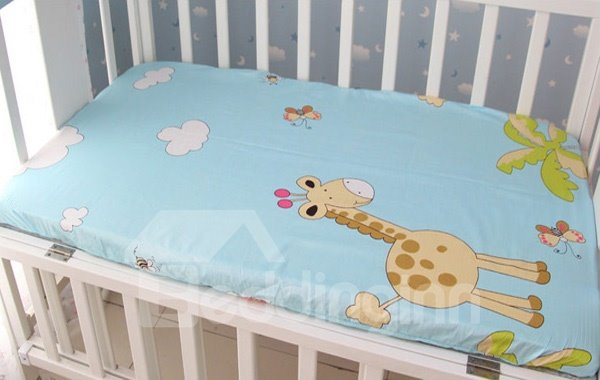 Cute Giraffe and Butterfly Print Baby Crib Fitted Sheet