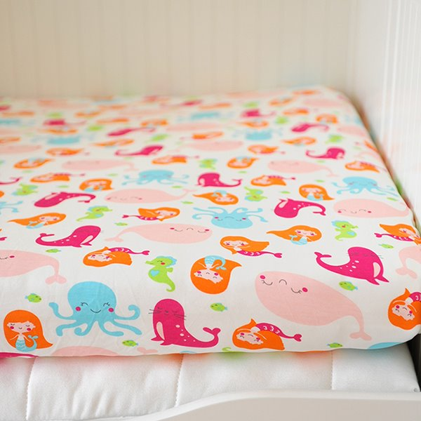 Pretty Pink Mermaid Pattern Baby Crib Fitted Sheet