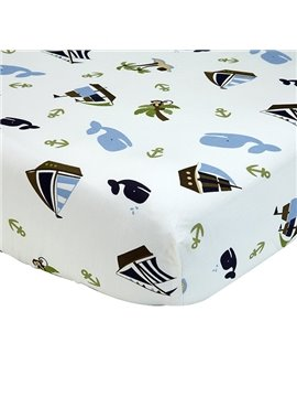 Sailing Boat and Whale Pattern Baby Crib Fitted Sheet
