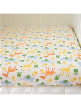 Lovely Elephant and Frog Pattern Baby Crib Fitted Sheet