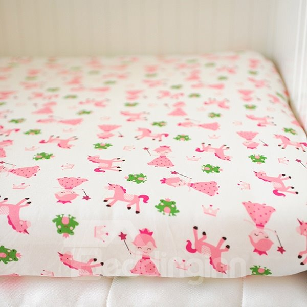 Pink Princess and Frog Pattern Baby Crib Fitted Sheet