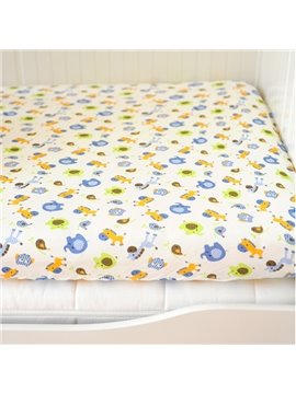 Blue Circus Animals Pattern Baby Crib Fitted Sheet