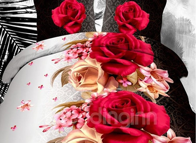 Romantic Lifelike Roses and Lily Print Polyester 4-Piece Duvet Cover Sets 11584049
