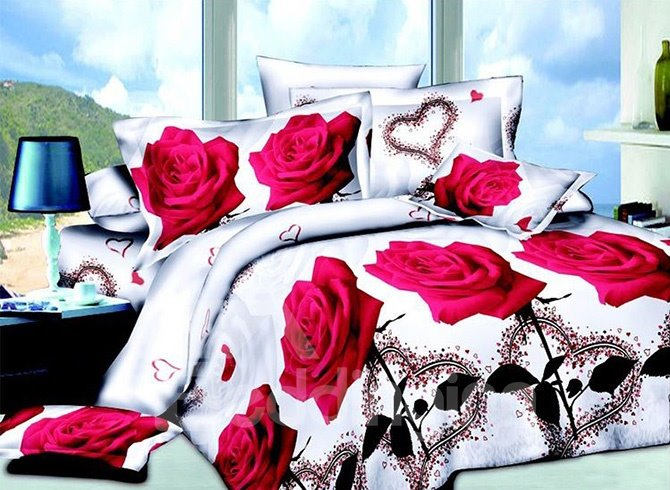 Romantic Red Roses and Hear-shape Print Full Size 4-Piece Duvet Cover Sets 11584053