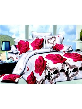 Romantic Red Roses and Hear-shape Print Full Size 4-Piece Duvet Cover Sets